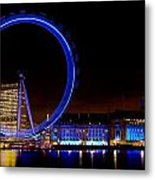 Night Image Of The London Eye And River Thames Metal Print