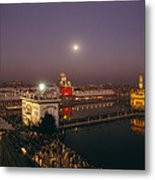 Night View Of Amritsar Metal Print