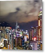Night View Of Hong Kong Island Metal Print