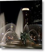 Night View Of Swann Fountain Metal Print