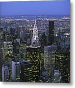 Night View Of The Manhattan Skyline Metal Print by Todd Gipstein