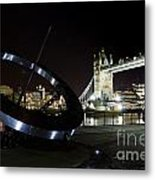 Night View Of The Thames Riverbank Metal Print