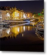 Nighttime Along The River Leie Metal Print