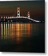 Nighttime Over Mackinac Straits Metal Print