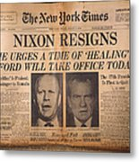 Nixon Resigns: Newspaper Metal Print