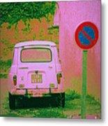 No Parking Sign With Pink Car Metal Print