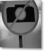 no photography sign at the greek cypriot army border post at the UN buffer zone cyprus green line Metal Print