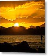 Noosa Sunset Paddle Board 1 Metal Print