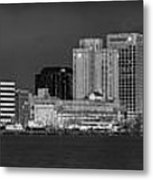 Norfolk Waterfront Bw Metal Print