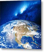 North America And The Milky Way Metal Print