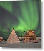 Northern Lights Above Village Metal Print