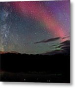 Northern Lights And The Milky Way Metal Print