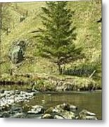 Northumberland, England A River Flowing Metal Print by John Short