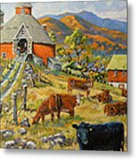 Nostalgia Cows Painting By Prankearts Metal Print