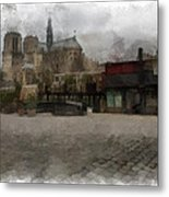 Notre Dame 1 Aquarell  Metal Print