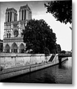 Notre Dame Along The Seine Metal Print