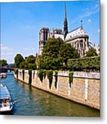 Notre Dame Cathedral Along The Seine River Metal Print