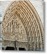 Notre Dame Cathedral Right Entry Door Metal Print