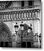 Notre Dame With Luminaires Metal Print
