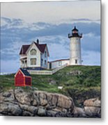 Nubble Light At Dusk Metal Print