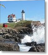 Nubble Lighthouse With Seagull And Ocean Spray Metal Print