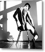 Nude Man On Chair Metal Print by Sumit Mehndiratta