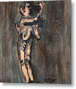Nude Sculpture Young Boy And Pet Duck Religious Symbolism In Orange And Blue Vatican City Metal Print