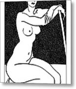 Nude Sketch 29 Metal Print by Leonid Petrushin