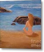 Nude Woman On Beach Metal Print