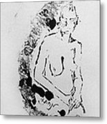 Nude Young Female That Is Mysterious In A Whispy Atmospheric Hand Wringing Pose Highly Contemplative Metal Print