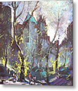 Nyc Central Park Controluce Metal Print by Ylli Haruni
