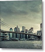 Nyc Skyline In The Sunset V2 Metal Print