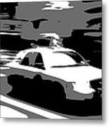 Nyc Taxi Bw3 Metal Print