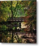 Oak Bridge In Fall Metal Print