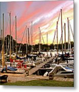 Oak Pt Harbor At Sunset Metal Print