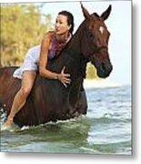 Ocean Horseback Rider Metal Print
