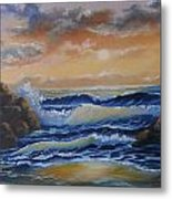 Ocean Study In Blue Metal Print