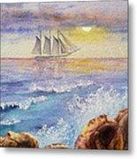 Ocean Waves And Sailing Ship Metal Print