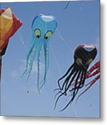 Octopus And Squid-shaped Kites Fly Metal Print by Stephen Sharnoff