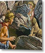 Oedipus Encountering The Sphinx Metal Print