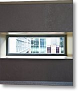 Office Buildings Seen Through Window Metal Print