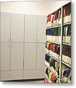 Office Cabinets And Colorful Files Metal Print