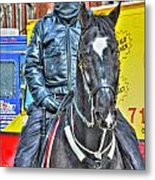 Officer And Black Horse Metal Print