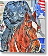 Officer On Brown Horse Metal Print