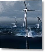 Offshore Wind Farm In A Storm, Artwork Metal Print