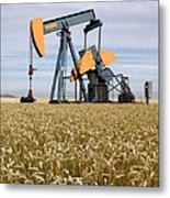 Oil Pump In A Wheat Field Metal Print