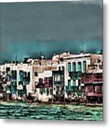 Oill Paint Effect Mykonos Greece Metal Print