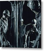 Oilmen Covered In Mud Pull Up A Drill Metal Print
