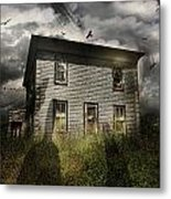 Old Ababdoned House With Flying Ghosts Metal Print by Sandra Cunningham