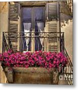 Old Balcony With Red Flowers Metal Print by Mats Silvan
